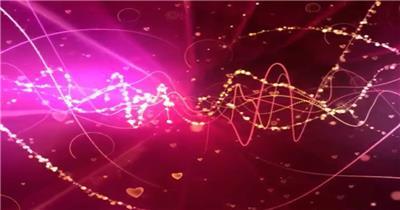 粉色背景中的粒子光线和闪烁爱心2 视频素材下载