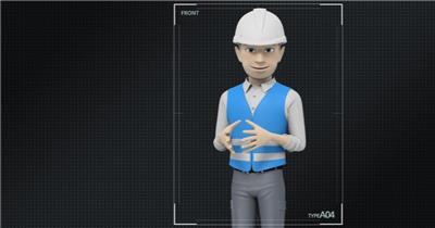 14227 三维卡通人物工人讲解动画ae免费模板素材 ae素材