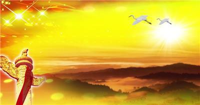 歌颂祖国 款A03931白鸽国旗华表星光国徽有音乐