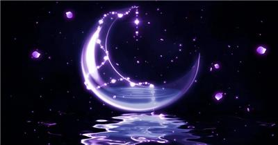 星星月亮 款A20007唯美紫色梦幻月亮花瓣无音乐_batch led视频背景下载