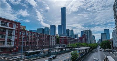 蓝天白云下北京国贸