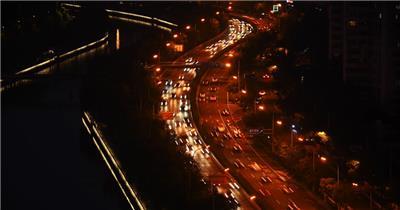 北京S型立交桥夜晚车流
