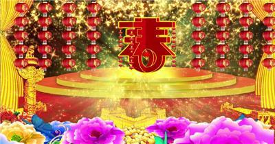 -春节新年系列款Y6894牡丹春字春节新年 led视频素材库