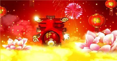 春节福字喜庆 灯笼 大鼓 龙凤春节 新年 新春佳节 过年