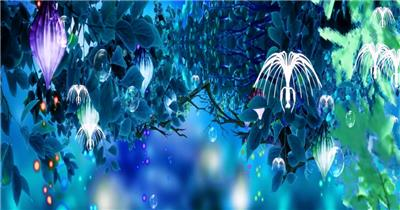 -海底鱼群水母婚礼套----D35蓝色海洋无声海底鱼群水母婚礼水底海洋大海