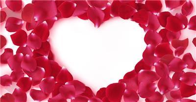 漂亮的玫瑰花瓣拼成的爱心 RoseHeart 视频素材下载
