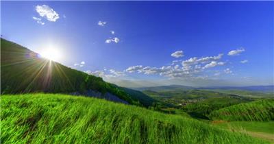 超唯美蓝天白云草原山脉风光