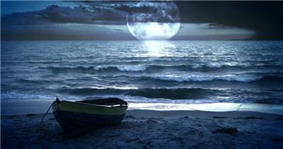 海边月亮意境大海沙滩iStock_000005220379HD1080