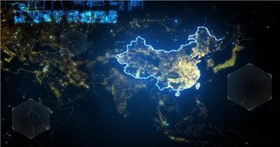 科技地图武汉加油抗击疫情AE模板