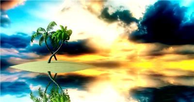 沙滩椰树 款A19111唯美意境沙滩有音乐_batch led视频背景下载