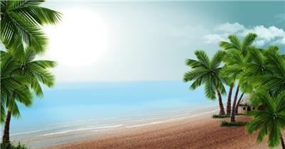 沙滩椰树 款A19122海滩椰树无音乐_batch led视频背景下载