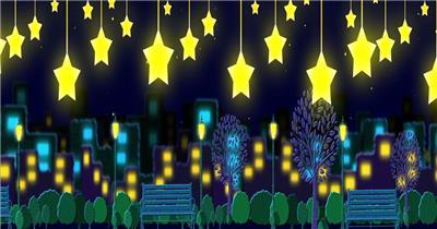 星星月亮 款A20021可爱星星楼夜景无音乐