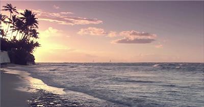 夕阳下海滩美景实拍