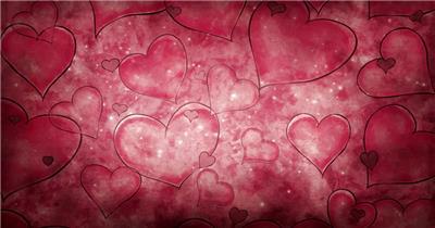 蜡笔绘制爱心背景 loveDrawnQT 视频素材下载