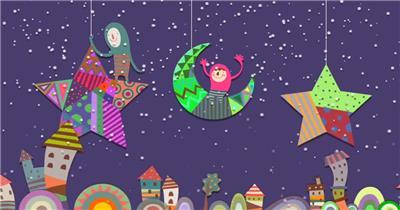 星星月亮 款A20001儿童梦幻星月童话乐园无音乐_batch led视频背景下载