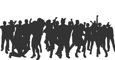 跳舞人群黑白剪影  CrowdDance3 视频素材下载