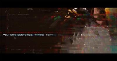9951 科技感信号损坏打字动画片头 ae素材ae模版