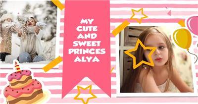 AE:AE儿童生日快乐相册展示 ae素材 免费下载17 相片照片 ae素材 幻灯片