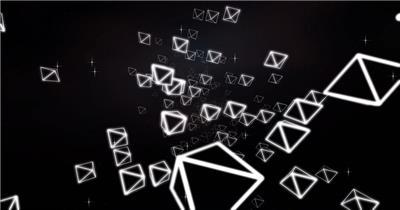 魔幻黑白线条几何体排列布局旋转虚拟空间视觉舞台背景视频素材
