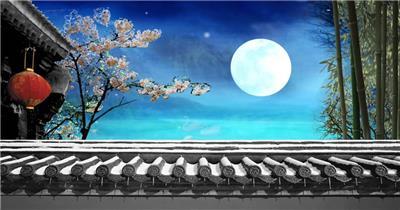 -古代建筑庭院款Y3559月亮有音乐 led视频素材库