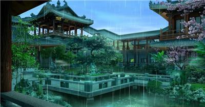 -古代建筑庭院款Y8060雨中阁楼花园 led视频素材库