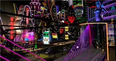 A266-3D科幻未来酒吧街开场片头 酒吧视频 dj舞曲 夜店视频