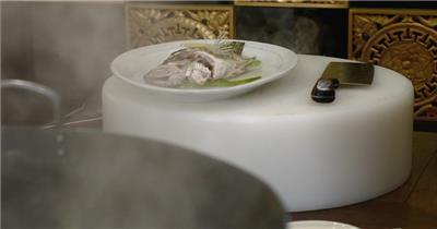 饭店酒楼吃饭聚餐美食火锅高清视频素材餐饮厨师食物厨房清蒸鱼