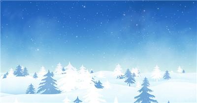 -圣诞节系列款Y1546冬季雪景下雪松树 led视频素材库