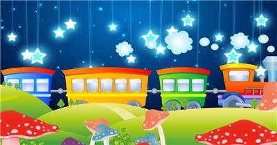 -儿童卡通梦幻款Y6010儿童节卡通火车星星 led视频素材库