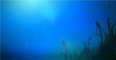 海底海浪深海Y1232卡通海底鱼群水草 led视频背景 视频素材动态背景