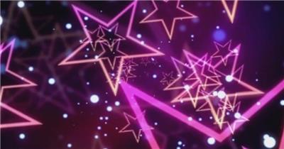 迷幻动感繁多五角星放大粒子光效视觉冲击视频素材