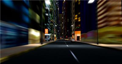 城市夜景空间Y0818城市夜晚汽车穿梭穿越高楼道路 led视频背景 视频素材动态背景