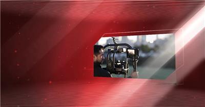 edius大气红色科技三维空间照片图片展示企业产品模板 edius模板免费下载 edius源文件