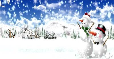 -圣诞节系列款Y3030圣诞下雪雪人有音乐 led视频素材库