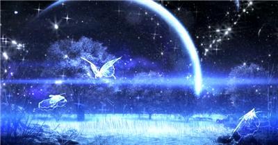 A91-极品月亮夜晚森林冬天(有音乐) 婚庆婚礼背景 婚庆婚礼