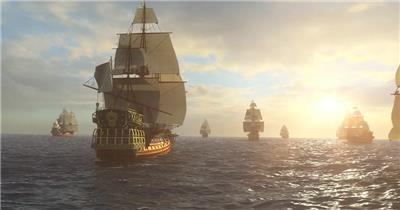 -帆船航海波浪款Y4129古代船队 led视频素材库