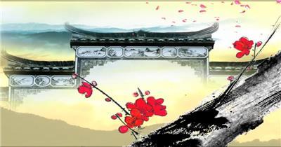 -古代建筑庭院款Y0725韵味中国风梅花花瓣牌坊 led视频素材库