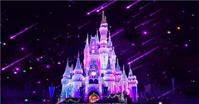 城堡宫殿教堂Y4737紫色城堡流星 led视频背景 视频素材动态背景