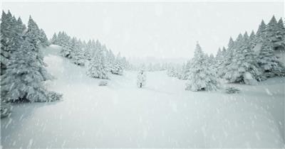 YM3945下雪的圣诞树森林_01 冰雪世界 视频动态背景 虚拟背景视频