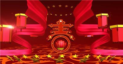 -春节新年系列款Y0507春晚片头开场大气牡丹有音乐 led视频素材库