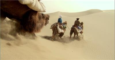0309-沙漠骆驼队1-沙漠中国实拍视频素材 视频下载中国实拍