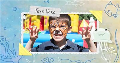 12779 儿童相册展示 特效素材 AE模板资源站 儿童卡通