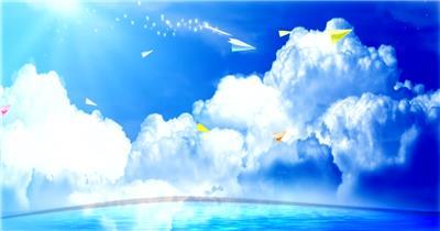 A348-蓝天白云纸飞机 视频动态背景 虚拟背景视频