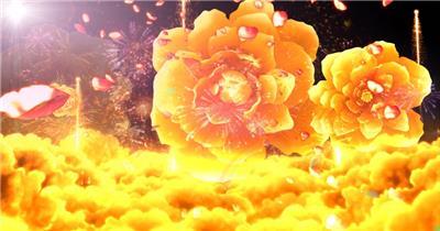 -富贵牡丹系列款Y1706黄金牡丹有音乐 led视频素材库
