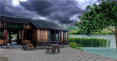 -古代建筑庭院款Y5277茶馆古代建筑 led视频素材库