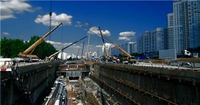 建设建筑工地实拍套地铁站的建设 施工工地 施工场地 建筑施工