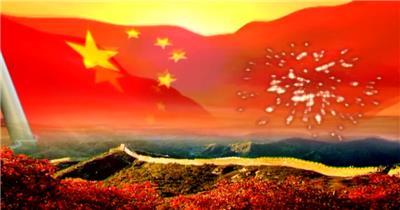 华表红旗红绸Y0437长城国旗动态演出背景素材 led视频背景 视频素材动态背景