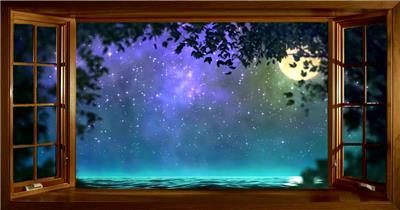 -夜色明月荷花款Y6569窗外唯美月亮星空夜晚 led视频素材库