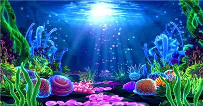D35-海底海底鱼群水母婚礼 水底海洋大海