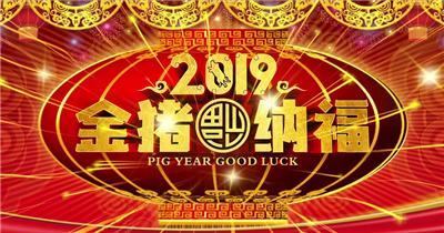 2019金猪纳福 2019猪年新年led 2019新年2019春节